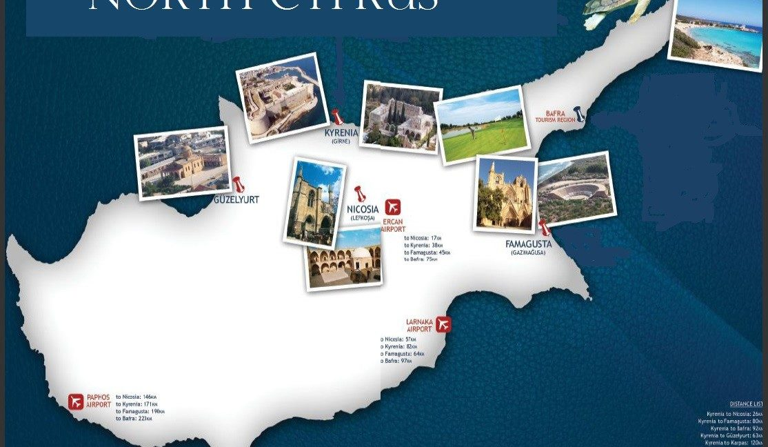 Cyprus Map with Postcards