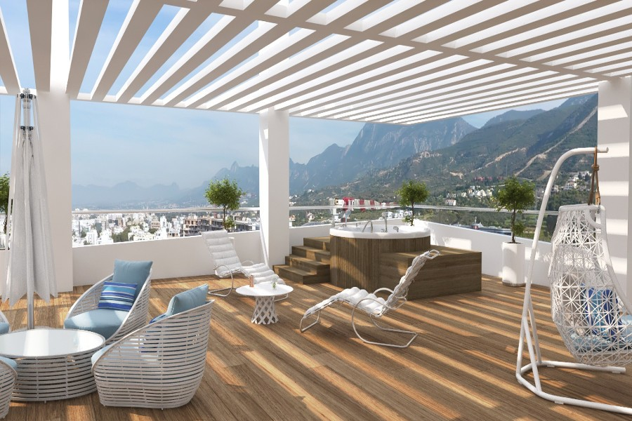Kyrenia Heights Ultra-Modern 4 Bed Terrace Apartment