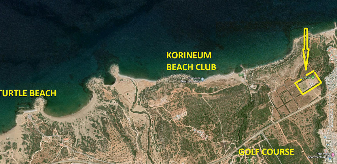 Carretta Houses Arial Location Map - North Cyprus Property